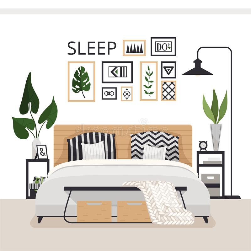 Stylish modern bedroom in the Scandinavian style. Minimalistic cozy interior with drawers, bed, paintings, rug and plants. royalty free illustration