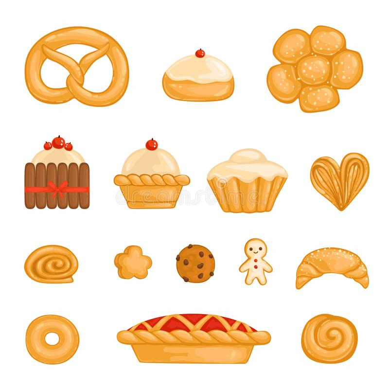 A set of baked goods bagel, bread, cake, cupcake, roll, biscuit,gingerbread man, kurasan, donut, pie, cheesecake. A set of baked goods bagel, bread, cake royalty free illustration