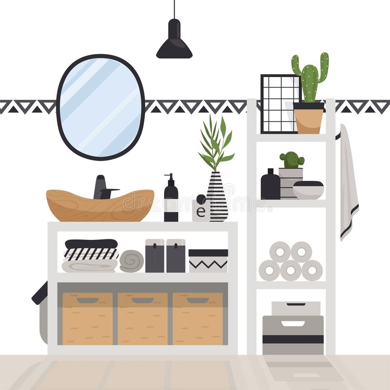 Stylish modern bathroom in the Scandinavian style. Minimalistic cozy interior with drawers, mirror, shelves, lamp and plants. royalty free illustration