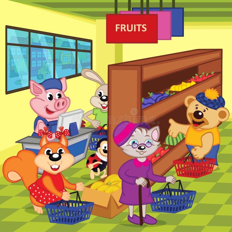Animals in supermarket royalty free illustration