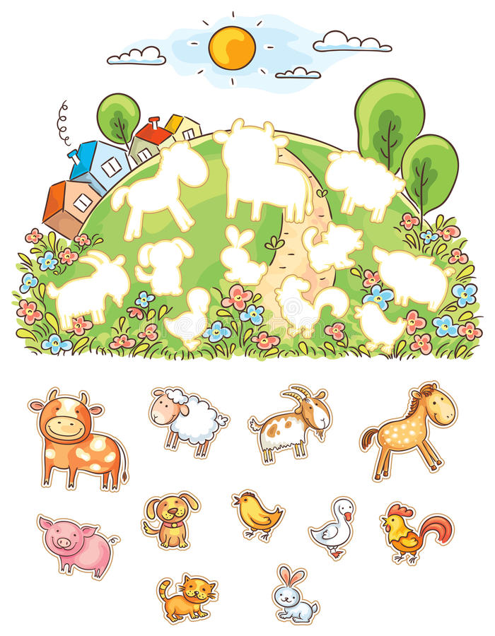Animals and their shapes matching game royalty free illustration