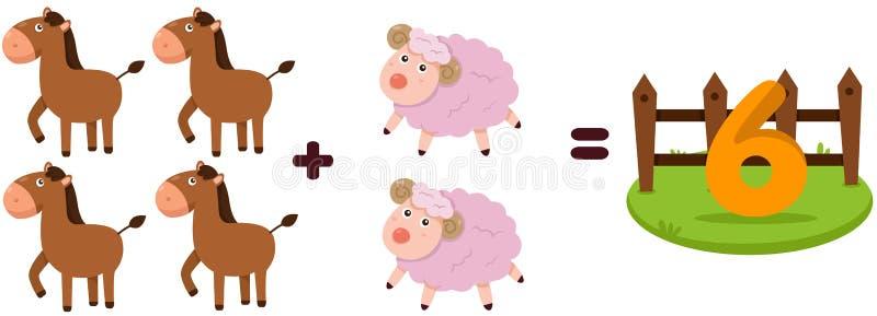 Animals to learn mathematics stock illustration
