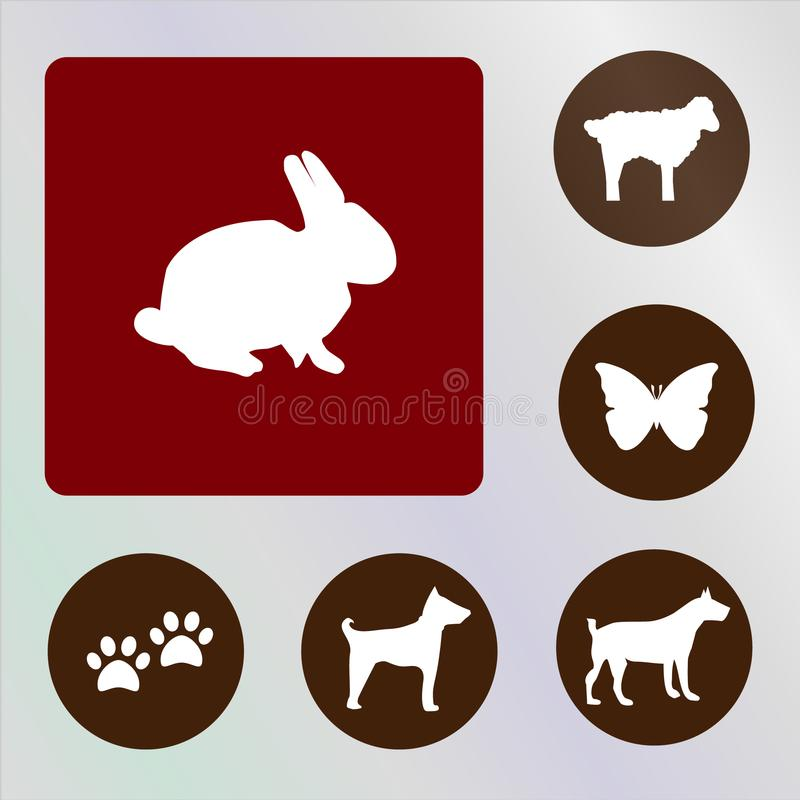 Animals vectors, icons, illustrations, red and brown backkckground royalty free illustration