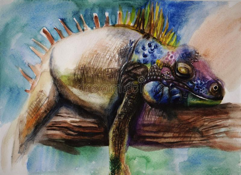 Free pacification. Animals of the wild world suffer in restraint. I wanted to convey the feeling of the animal, namely iguanas on freedom. Where you can just royalty free illustration