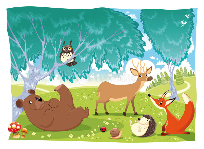 Animals in the wood. Funny cartoon and illustration