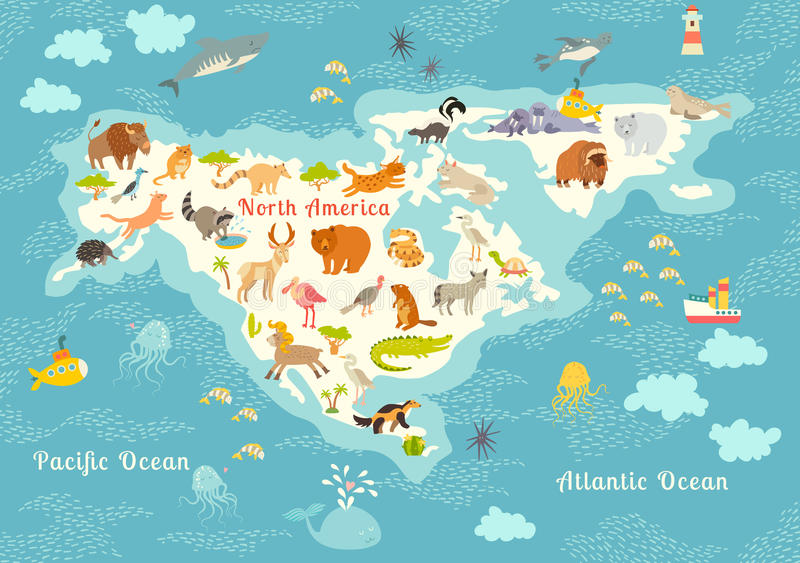 Animals world map north america colorful cartoon vector download animals world map north america colorful cartoon vector illustration for children and kids gumiabroncs Image collections