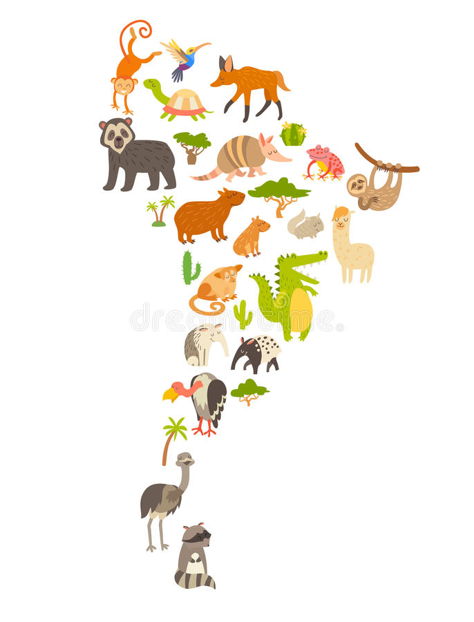 download animals world map south america stock vector illustration of discovery animal