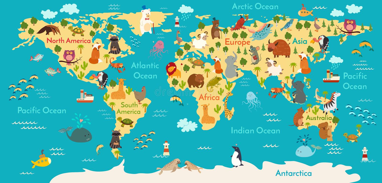 Download Animals World Map Stock Vector. Illustration Of Cute   62418436
