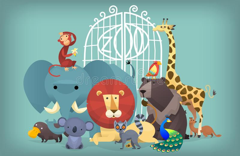 Animals at the zoo. Illustration of wild exotic animals standing near the zoo gates. Portrait of group of animals royalty free illustration