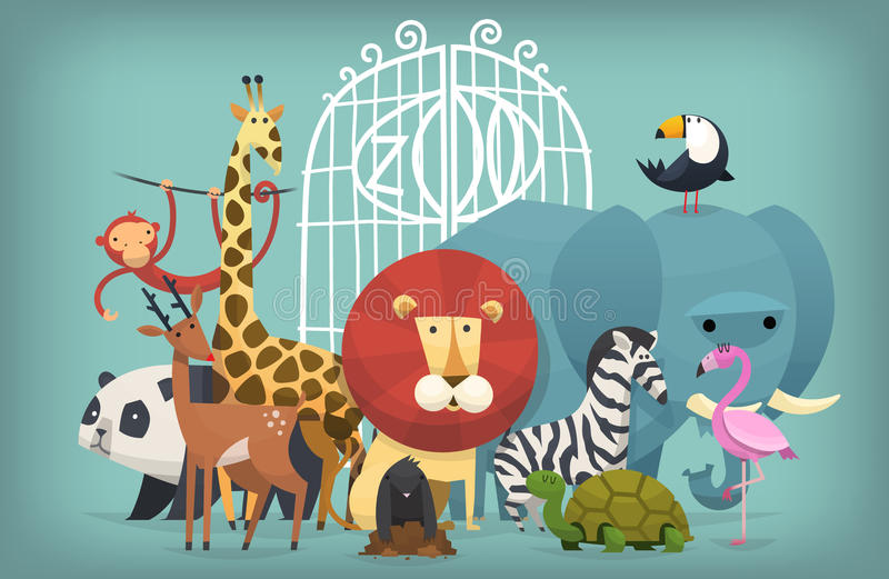 Animals in Zoo. Vector illustration card with zoo animals standing near gates inviting to visit a Zoo