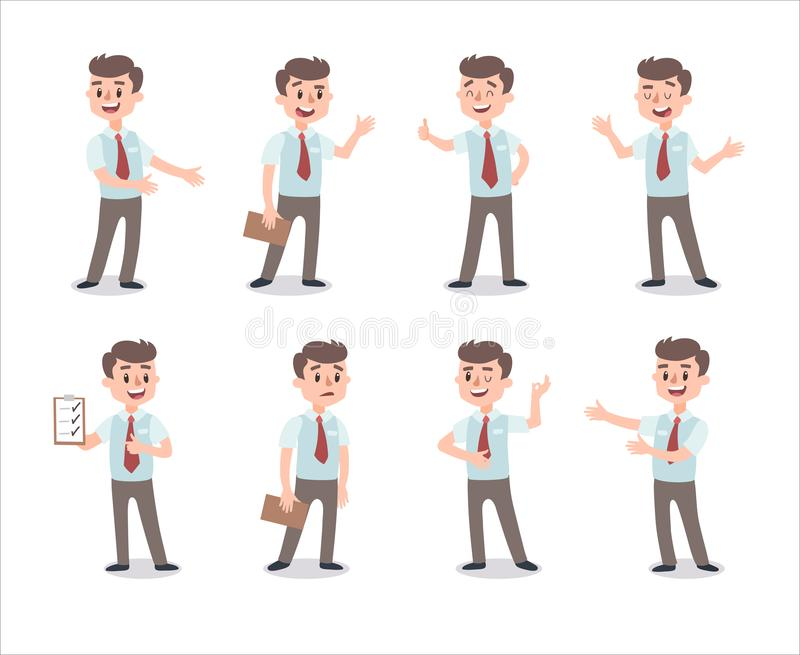 Businessman character set. Animate character. Male personage constructor. Different man postures. Vector set personage. stock illustration