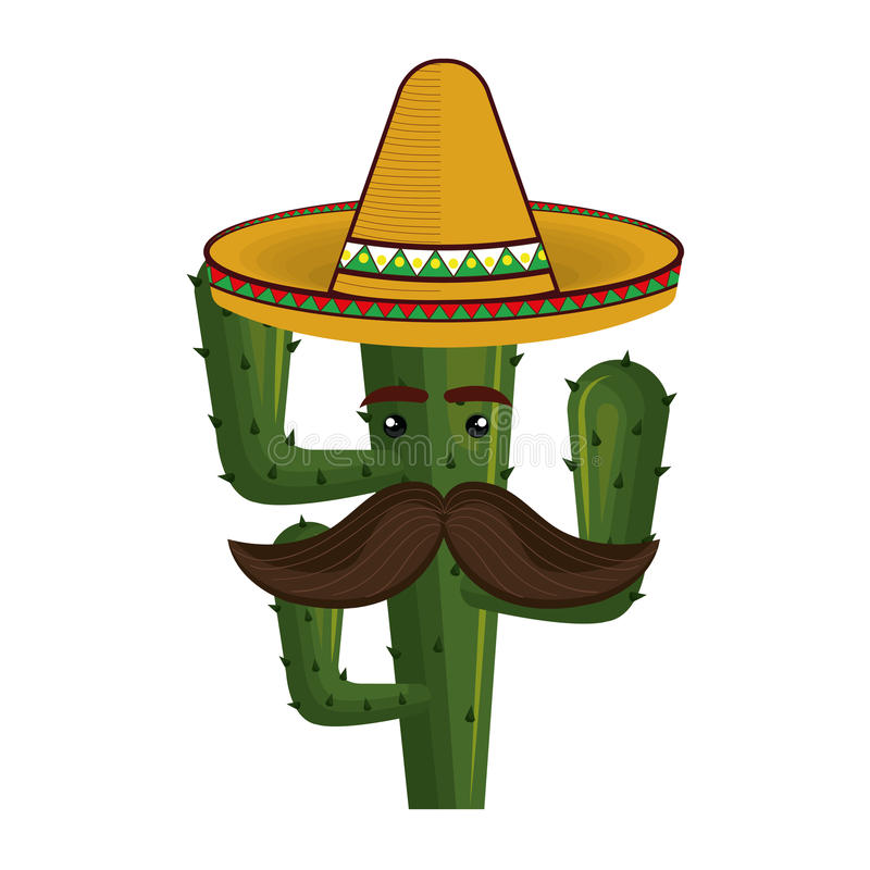 Animated cartoon cactus with mexican hat and moustache. Vector illustration royalty free illustration