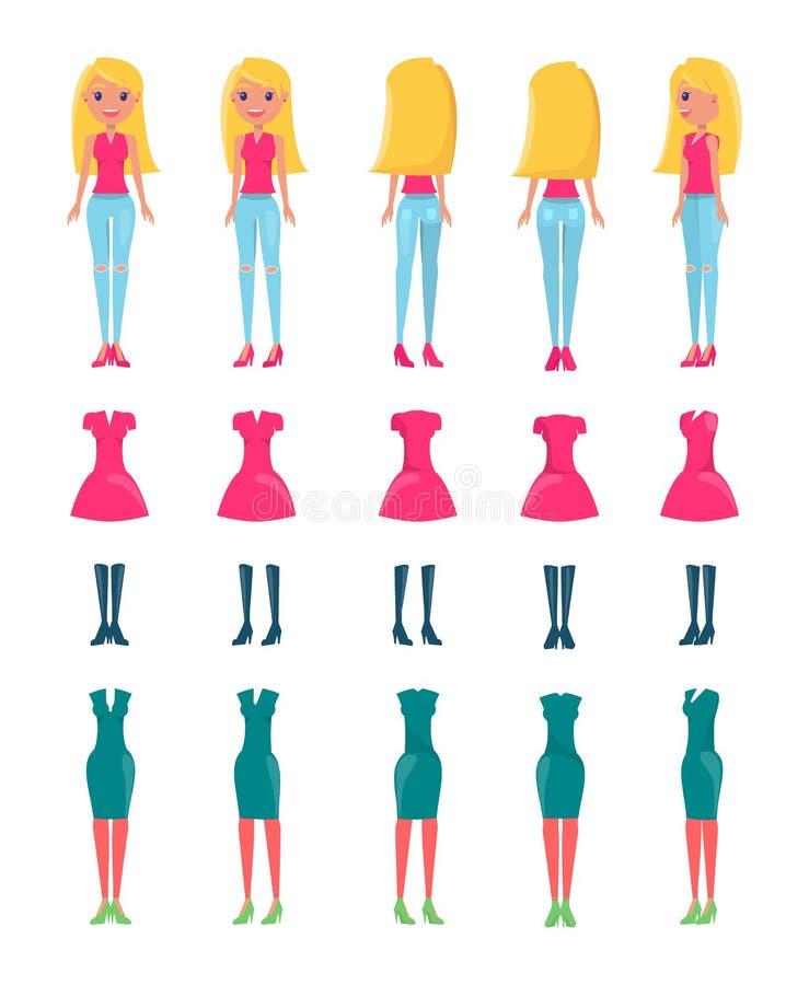 Animated Vector Cartoon Character Blonde Girl Set vector illustration