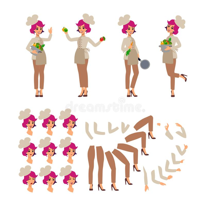 Animated cartoon character. Cook female personage constructor. Fun cartoon person. Isolated on white background. Different woman p royalty free illustration