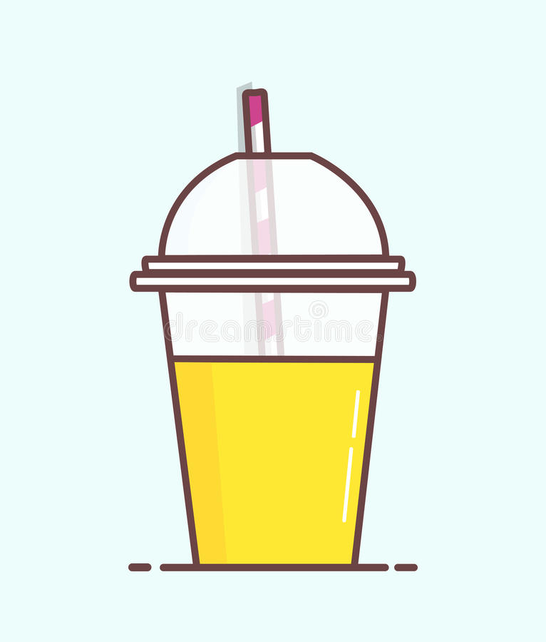 animated cartoon plastic orange juice cup with straw in