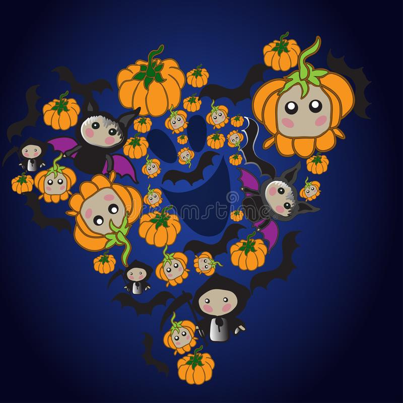 Animated characters of the autumn holiday Halloween. stock illustration