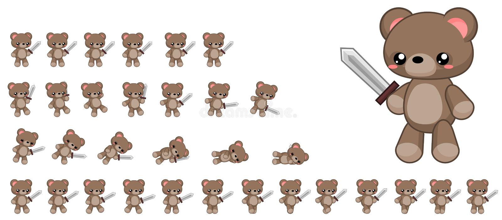 Animated Cute Bear Character Sprites vector illustration