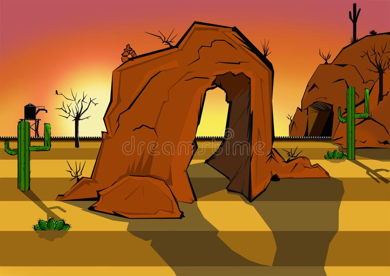Animated Desert Scape. Animated desert scene, lots of browns, tans, reds, oranges and yellows. Couple of green cactus, and railroad tracks. And a small cairn on royalty free illustration