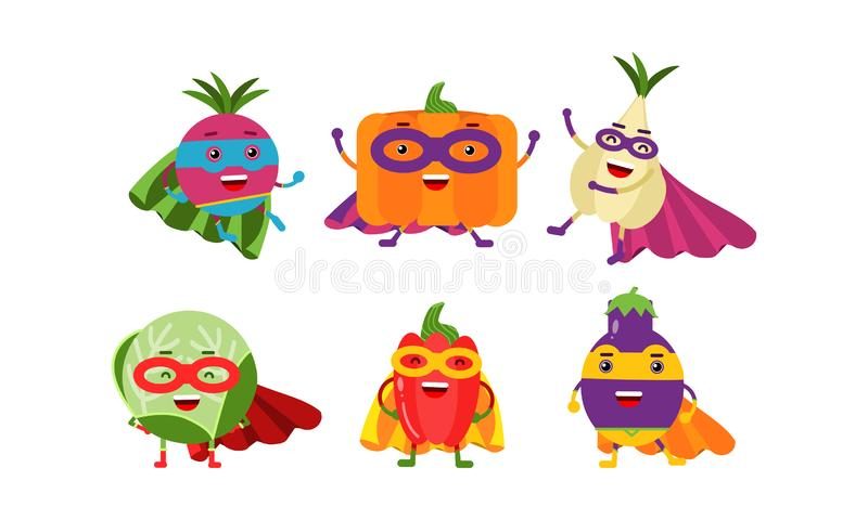 Cute Animated Vegetables In Different Poses Cartoon Character Vector Illustration. Animated different kinds of bright color vegetables. Beet, pumpkin, garlic royalty free illustration