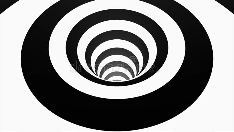 Animated hypnotic tunnel with white and black squares. Striped optical illusion three dimensional geometrical wormhole stock illustration