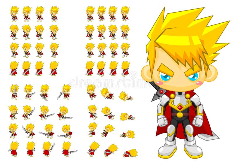 Animated Knight Character Sprites stock illustration