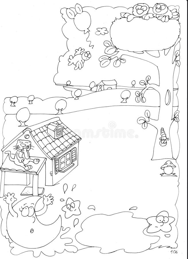 Animated moon slips in the mud with cat on the roof chine coloring for kids. For books and teaching school boards and narrative stock illustration