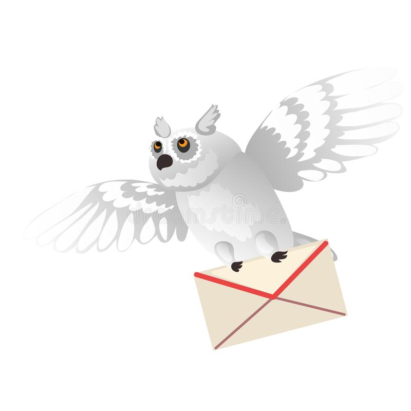 Animated polar owl holding a letter in its paws isolated on white background. Vector cartoon close-up illustration. Animated polar owl holding a letter in its stock illustration