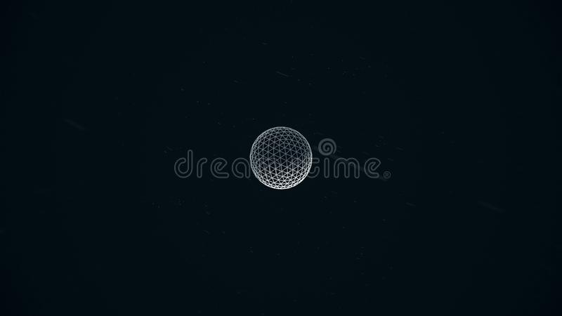Animated rotating abstract white sphere constructed with glowing points, crossed lines, seamless loop. Abstract vector illustration