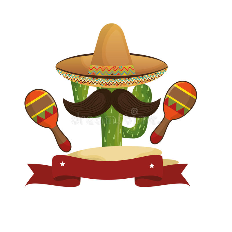 Animated sketch cactus with mexican hat and moustache with maraca. Vector illustration royalty free illustration