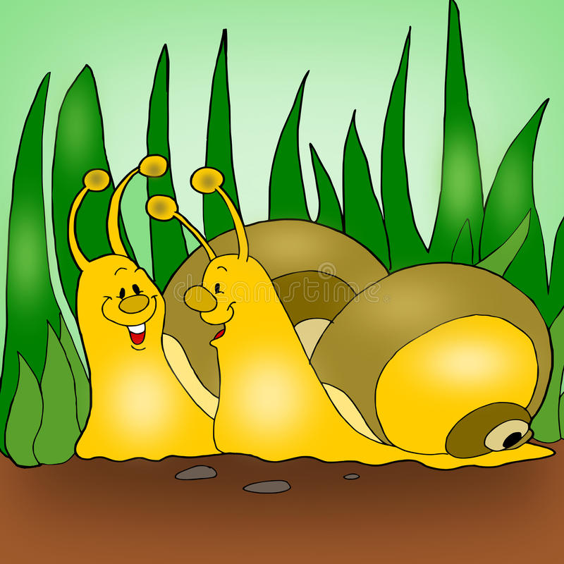 Animated snails royalty free stock photography