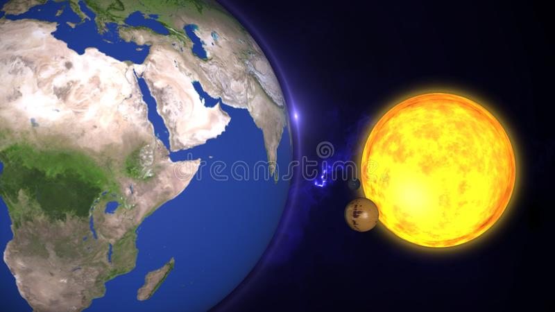 Animated solar system, 3D universeStars of planets and galaxies in this visual element decorated by NASA stock illustration
