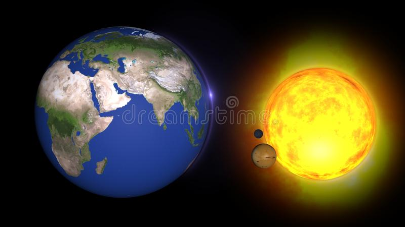 Animated solar system, 3D universeStars of planets and galaxies in this visual element decorated by NASA vector illustration