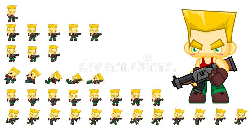 Cute Soldier Character Sprites royalty free illustration