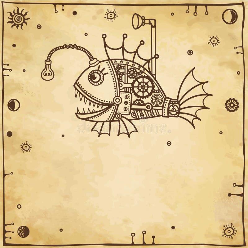Animatie mechanische vissen vector illustratie