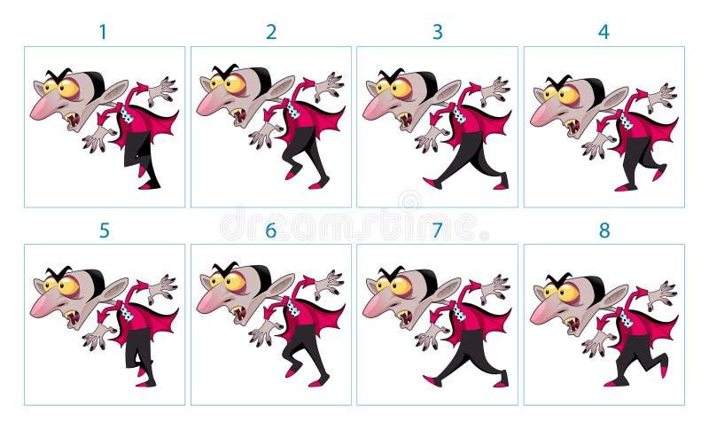 Animatie van een karakter van de beeldverhaalvampier royalty-vrije illustratie