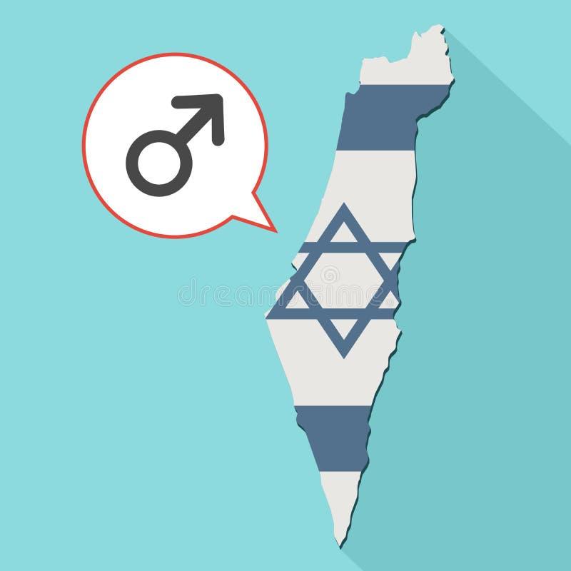 Animatie van een lange kaart van schaduwisraël met zijn vlag en grappig stock illustratie