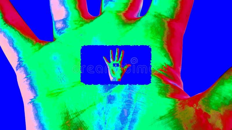 Animatie van een portaal in een kleurrijke menselijke hand vector illustratie
