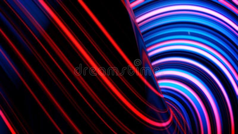 Animatie van gloeiende neonlijnen Abstracte achtergrond met golvende rassenbarrières Concept computergrafiek stock illustratie