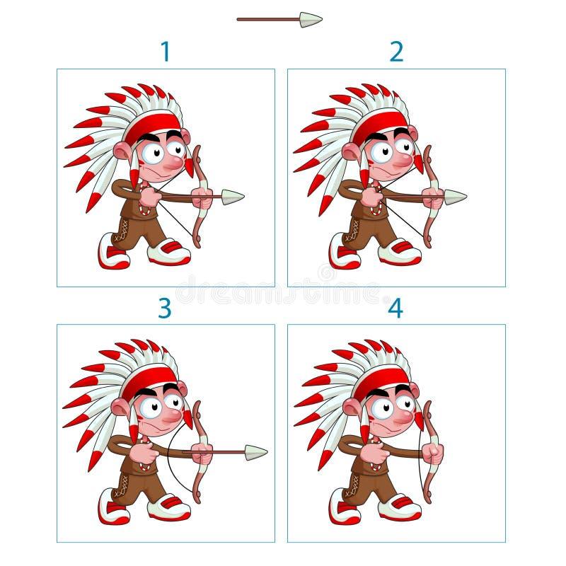 Animatie van inheemse jongen in 4 kaders met boog en pijl royalty-vrije illustratie