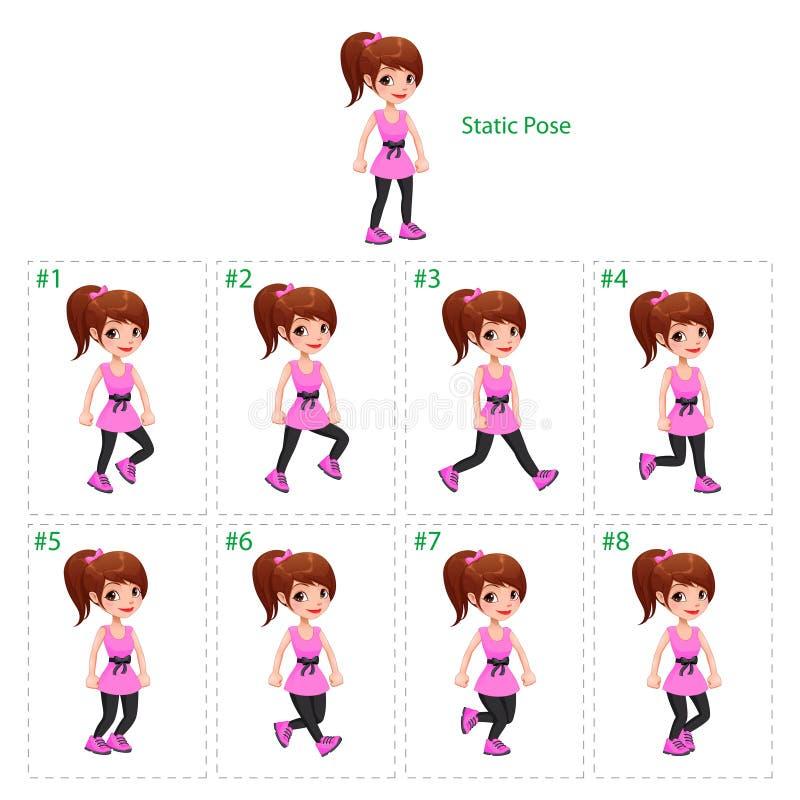 Animatie van meisje het lopen stock illustratie
