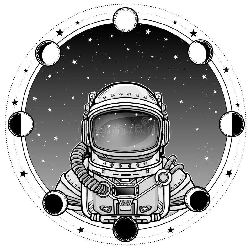 Animatieastronaut in een ruimtepak Een achtergrond - de hemel van de nachtster, fasen van de maan stock illustratie