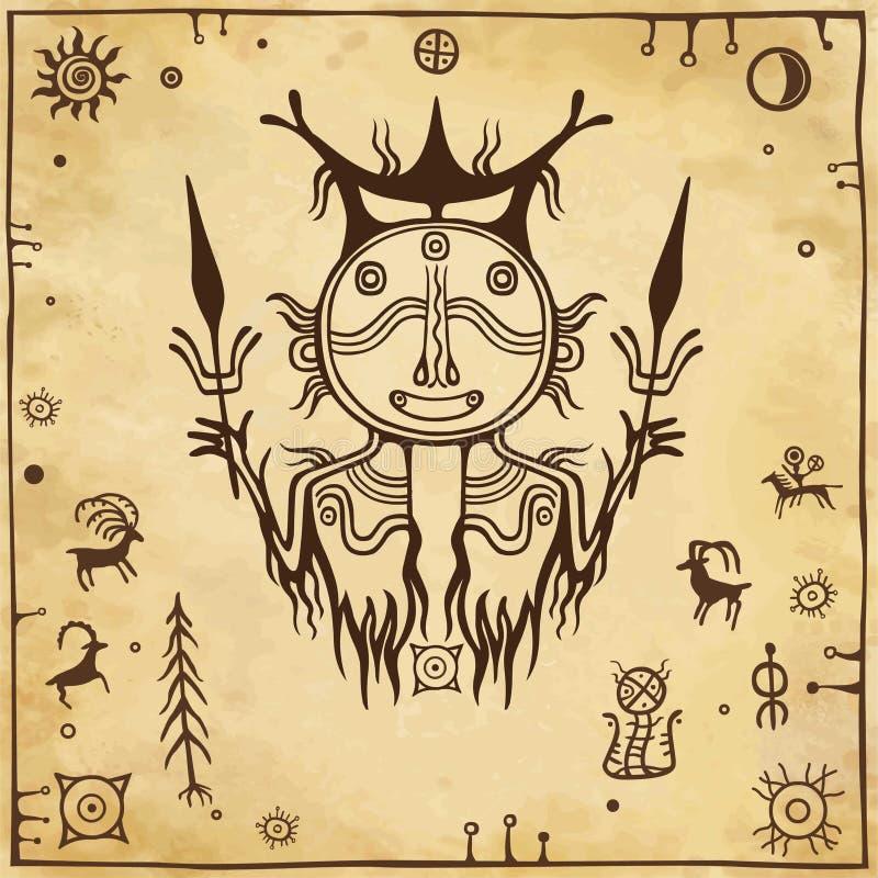 Animatiebeeld van oude heidense deity God van een regen en een donder Het schilderen van de rots vector illustratie