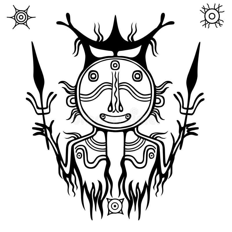 Animatiebeeld van oude heidense deity God van een regen en een donder royalty-vrije illustratie