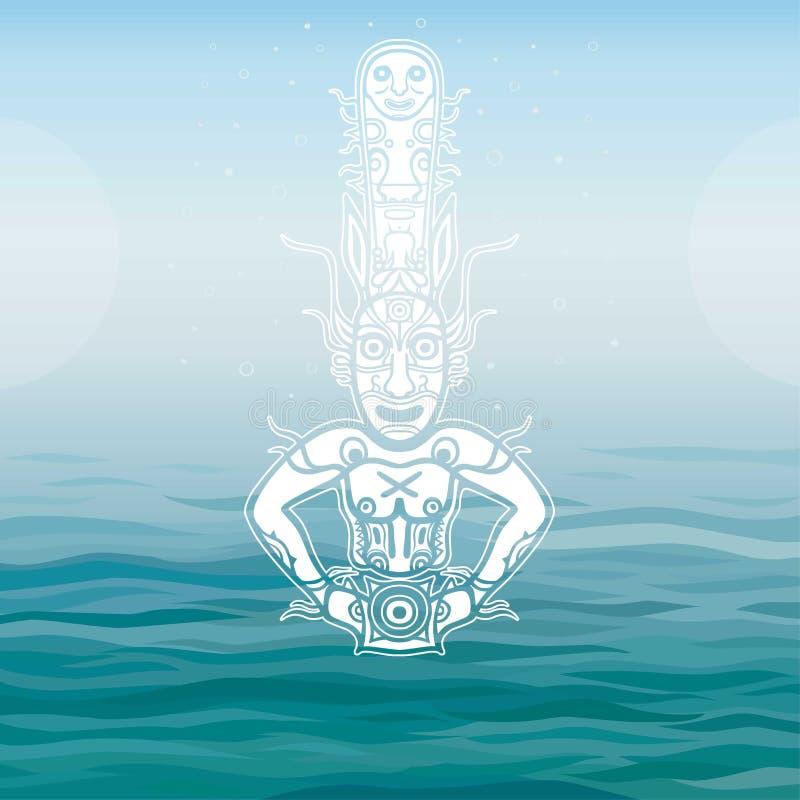 Animatiebeeld van oude heidense deity God, idool, pictogram, totem Element van rots het schilderen vector illustratie