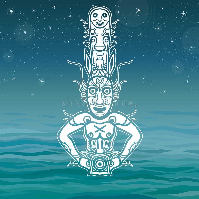 Animatiebeeld van oude heidense deity royalty-vrije illustratie