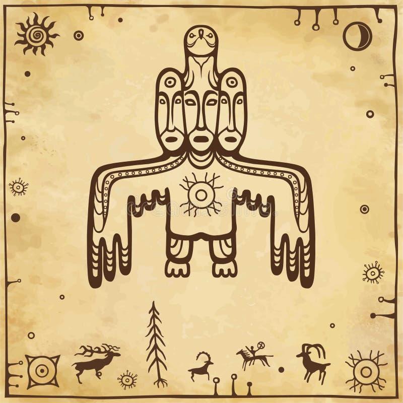 Animatiebeeld van oude heidense deity God, idool, totem Vogel met drie menselijke gezichten vector illustratie