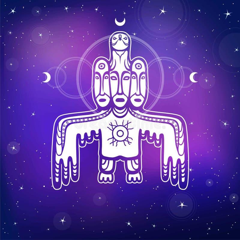 Animatiebeeld van oude heidense deity God, idool, totem vector illustratie