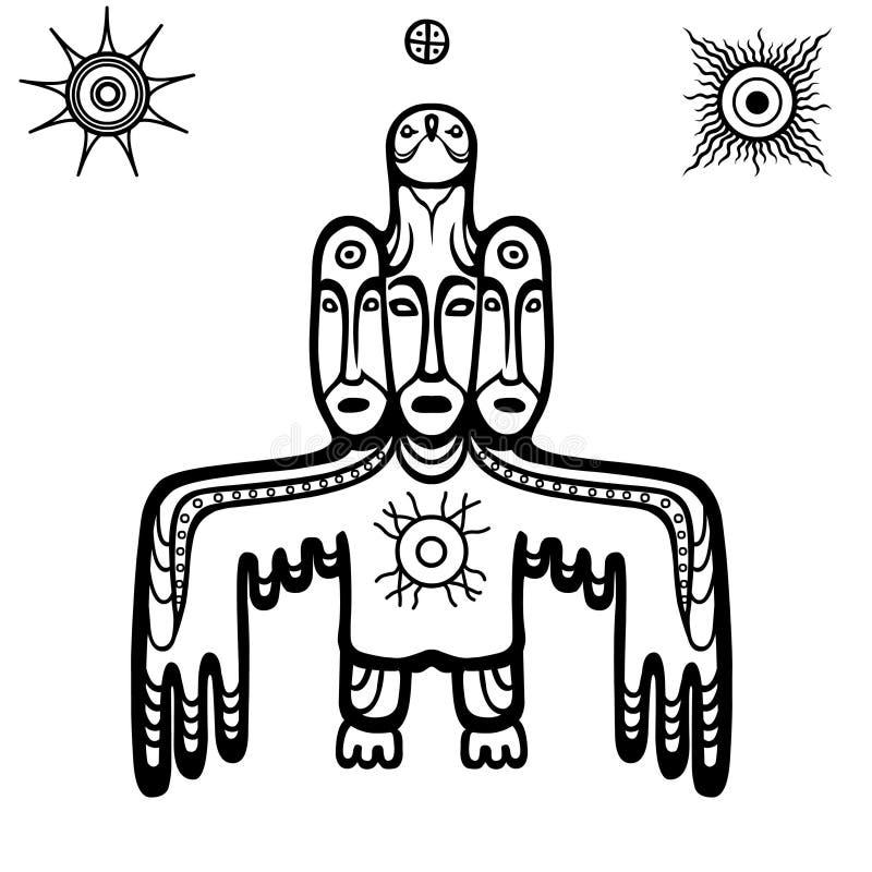 Animatiebeeld van oude heidense deity God, idool, totem stock illustratie