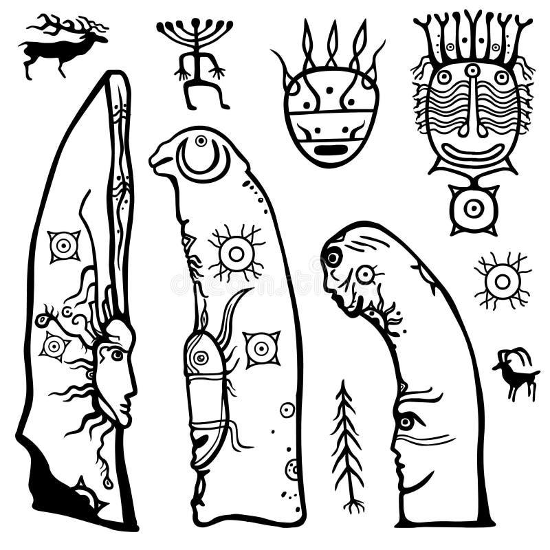 Animatiebeeld van oude heidense deity Steen steles Trekkend op een steen menhir vector illustratie