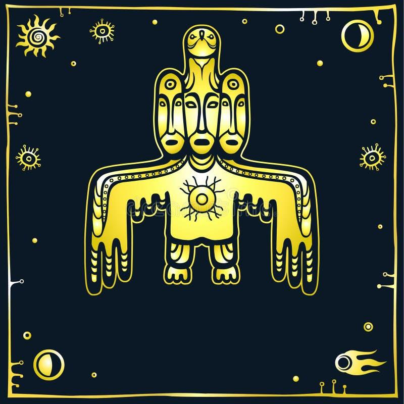 Animatiebeeld van oude heidense deity Vogel met drie menselijke gezichten God, idool, totem, pictogram vector illustratie